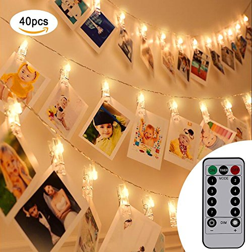 (40 LED Photo Clips String Lights, URAQT Warm White Starry Lights with S8 Modes for Snap Photos, 5 Meters with Remote Control)