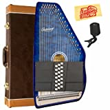 Oscar Schmidt OS21-CQTBL 21 Chord Classic Autoharp Bundle with Hard Case, Tuner, and Polishing Cloth - Transparent Blue