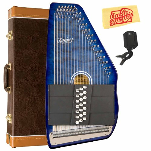 Oscar Schmidt OS21-CQTBL 21 Chord Classic Autoharp Bundle with Hard Case, Tuner, and Polishing Cloth - Transparent Blue by Oscar Schmidt