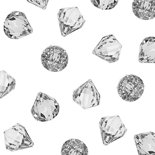 Acrylic Clear Ice Rock Diamond Crystals Treasure Gems for Table Scatters, Vase Fillers, Event, Wedding, Arts & Crafts, Birthday Decoration Favor (60 Pieces)