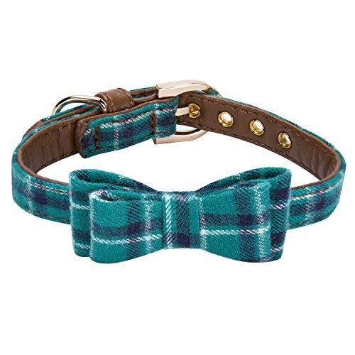 StrawberryEC Puppy Collars for Small Dogs Adjustable Puppy Id Buckle Collar Leather. Cute Plaid Bandana Dog Collar (Bow-Peacock -