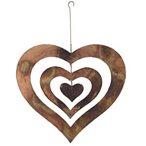 Natures Yard Flamed Copper Finish Triple Spinning Heart Metal Garden Art Hanging Spinner