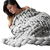 Blanket 32x40 Inch, Yezijin Hand Chunky Knitted Blanket Thick Wool Bulky Knitting Throw (Gray)