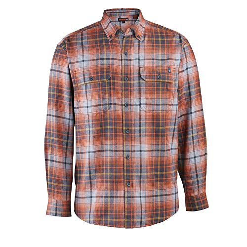 Wolverine Men's Escape Long Sleeve Performance Flannel, Dark Navy Plaid, Medium