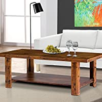 PrimaSleep Natural Vintage Wood Cocktail Table/Coffee Table/Brunch Table, Stylish Natural