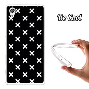 BeCool® - Funda Gel Flexible Sony Xperia X Performance Cruces Blancas Carcasa Case Silicona TPU Suave