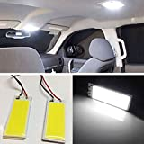 (Pack of 4) Super White COB 36-SMD LED Panel Dome Lamp Auto Car Interior Reading Plate Light Roof Ceiling Interior Wired Lamp With T10 / BA9S / Festoon Adapters