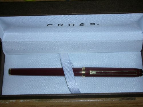 Cross Signature Series Burgandy Lacquer Roller Ball Pen with 23 Kt Plated Appointments