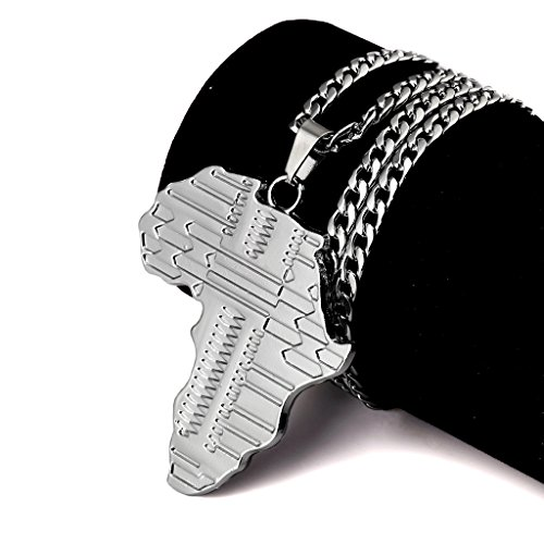 Tidoo Jewelry Hip Hop Long Chain Map of Africa Pendant Necklaces in Silver