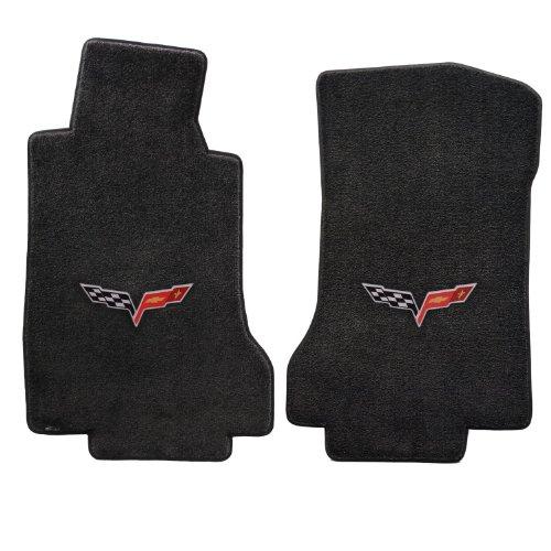 2005-2006 C6 Corvette Ebony Black Floor Mats - Crossed Flags Logo