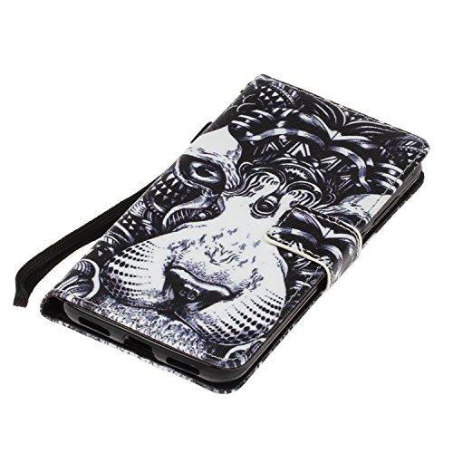 Para Huawei P8 Lite 2017 funda, (mariposa del amor) caja del teléfono de la PU patrón en relieve ,Función de Soporte Billetera con Tapa para Tarjetas correa de mano soporte para teléfono buldog