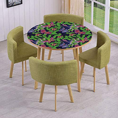 iPrint Round Table/Wall/Floor Decal Strikers/Removable/Tropical Vivid Petal Leaf Butterfly Dragonfly Forest Artwork Decorative/for Living Room/Kitchens/Office Decoration