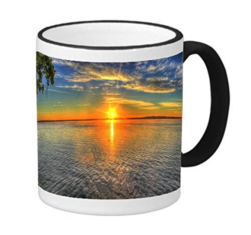 Good Morning Sunrise Over Tropical Island Ocean 11 ounce Black Rim/Handle Ringer Ceramic Coffee Mug Tea Cup by Moonlight Printing