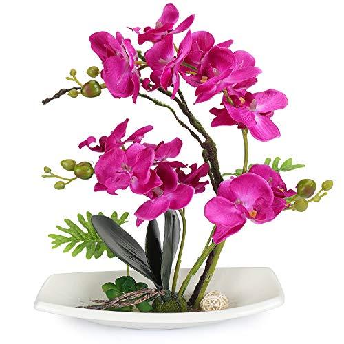 YOBANSA Orchid Bonsai Artificial Flowers with Imitation Porcelain Flower Pots Phalaenopsis Fake Flowers Arrangements for Home Decoration - Plastic Orchid