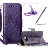 PU Leather Case For Samsung Galaxy S6,Strap Magnetic Wallet Folio Cover for Samsung Galaxy S6,Herzzer Elegant Slim Purple [Love Hearts Flower Embossed] Stand Phone Case