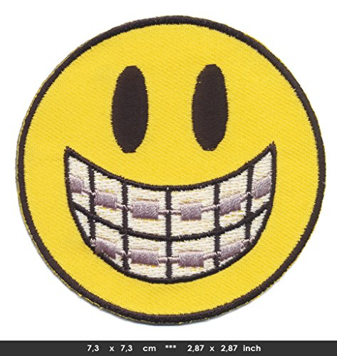 SMILEY Iron Sew On Cotton Patches Fun 70s Kult Dental Brace Bikers Vest Choppers by RSPS Embroidery n Decals
