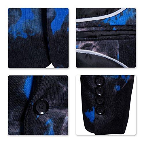 Blazer Homme Imprimé Floral Avec Costume Boutonnage Bouton Party Simple Élégant Business Sliktaa Slim Manteau Fit Un Mariage Bleu qEUHqAx