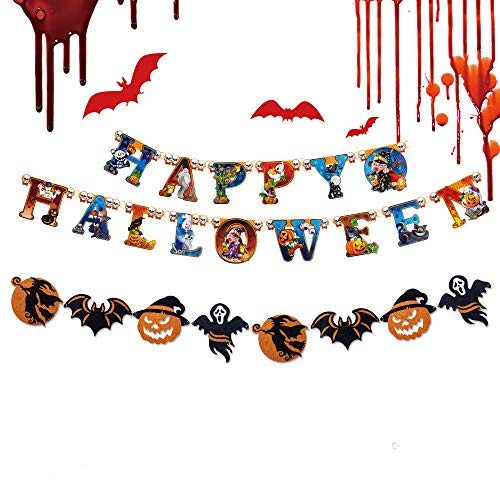 Letter E Halloween (Happy Halloween Huge Party Decoration Glitter Hanging Banner 2 Sets- Shiny Paper 3D Festival Supplies with Colorful Letters, Orange and Black Pumpkin, Witch, Bat and)
