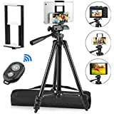 "PEYOU Compatible for iPad iPhone Tripod, 50"" Lightweight Aluminum Phone Camera Tablet Tripod + Wireless Remote + Universal 2 in 1 Mount Holder for Smartphone (Width 2.2-3.3""),Tablet (Width 4.3-7.3"")"