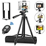 PEYOU Compatible for iPhone Tripod, 50'' Adjustable Aluminum Camera Tripod with [2 In 1] Tablet & Phone Holder Mount With Bluetooth Remote Shutter, Lightweight Travel Tripod Compatible for iPhone iPad Android and All Phones & Tablets Up to 10.5 Inch