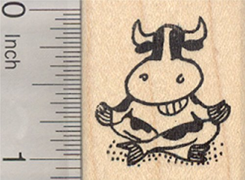 Meditating Grinning Cow Rubber Stamp, Oom, Mindfulness