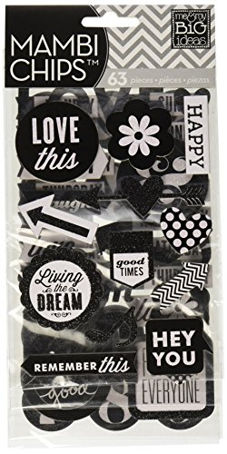 (me & my BIG ideas Pocket Pages Chipboard Stickers, Hey You, Black/White)