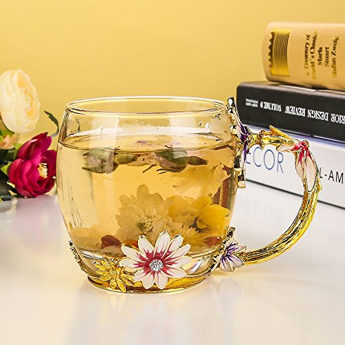 Glass Mug Set [2-Pack], TIANG 11oz Lead-Free Handmade Enamel Pink Flower Tea Cups with Handle, Unique Personalized Birthday Present Ideas for Women Mother Grandma Teachers Coffee by TIANG (Image #2)