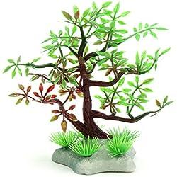 uxcell Brown Plastic Mini Tree Fishbowl Betta Tank Landscaping Ornament Home Decor