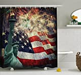 American Flag Decor Shower Curtain by Ambesonne, Composite Photo of States Idols with Fireworks on Background 4th of July, Fabric Bathroom Decor Set with Hooks, 70 Inches, Multi