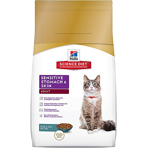 Hill's Science Diet Adult Sensitive Stomach & Skin Rice & Egg Recipe Dry Cat Food, 15.5 lb bag
