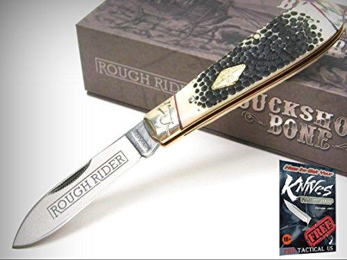 Teardrop Throwing Knives - ROUGH RIDER Buckshot Bone TEAR DROP JACK Straight Folding Pocket Knife! 0011547 + free eBook by ProTactical'US