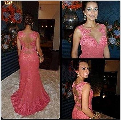 246872bab See Through Lace Sexy Hot Pink Prom Dresses 2015 Vestido De Fiesta Long  Scoop Neckline Formal