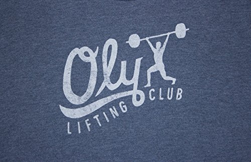Jumpbox Fitness Oly Lifting Club (Handwritten) - Indigo - Men's Barbell Weightlifting Tri Blend Workout T-shirt