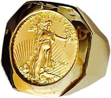 22K Fine Gold 1/10 Oz Us Liberty Coin In Heavy 14K Gold Ring 1233(Random Year Coin)