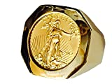 Image of 22K Fine Gold 1/10 Oz Us Liberty Coin In Heavy 14K Gold Ring 1233(Random Year Coin)