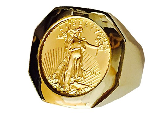 TEX 22K Fine Gold 1/10 Oz Us Liberty Coin in Heavy 14K Gold Ring 1233(Random Year Coin)
