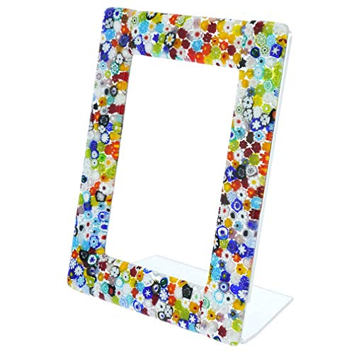 GlassOfVenice Murano Glass Millefiori Photo Frame Multicolor 4X6 Inch
