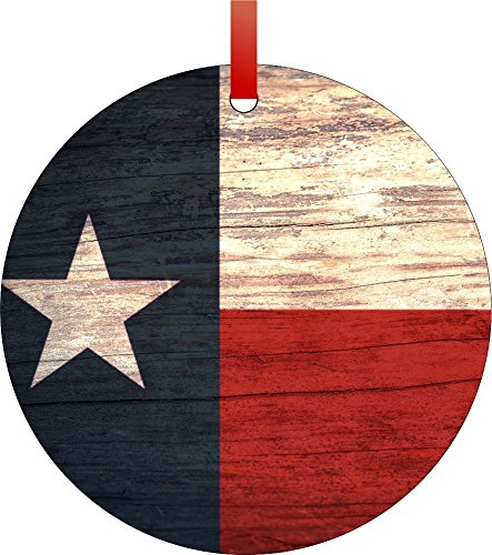 Texan Flag-Texas-Double-Sided Round Shaped Flat Aluminum Christmas Holiday Hanging Tree Ornament. Made in the USA! (Texas Ornaments Christmas)
