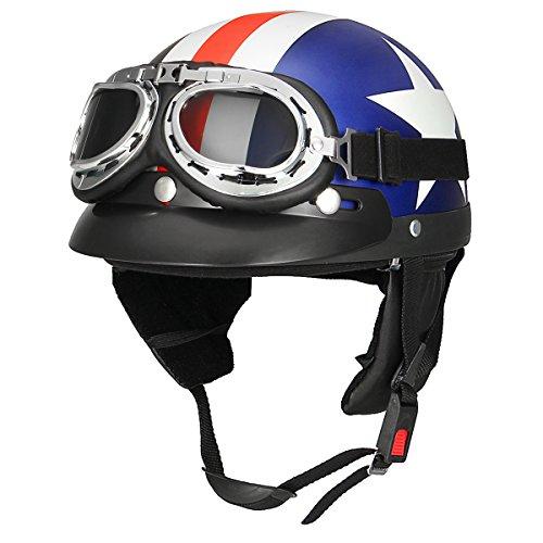 Winnerbe Retro White Star Motorcycle Half Face Helmet Biker Scooter With Sun Visor UV Goggles Cafe Racer (Best Cafe Racer Helmet)