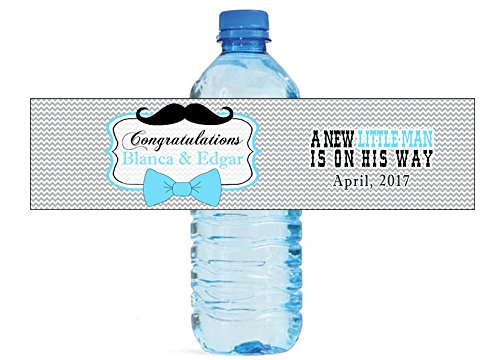 Bow Ties and Mustaches Baby Shower Themed Water Bottle labels Easy to Use Self Stick (Bow Ties And Mustaches Baby Shower)