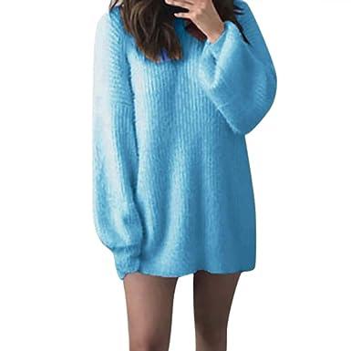 de4ff2b55e FORH Damen Mode O-Hals Einfarbig warm weich Lange Ärmel Pullover Pullover  Bluse (Größe