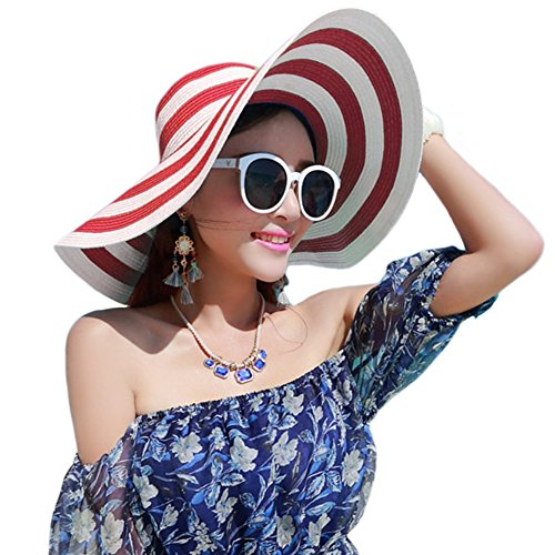 - Itopfox Womens Beachwear Sun Hat Striped Straw Hat Floppy Big Brim Hat,Red,One Size