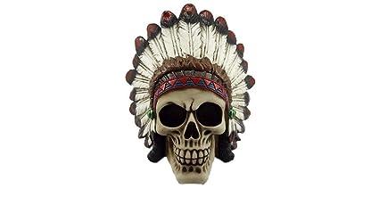 Teschio indiano damerica cm 25x25 resina rifinito e colorato