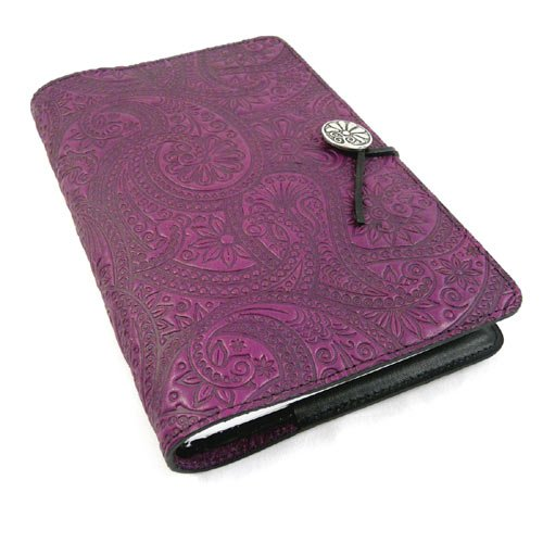 Purple Paisley American-Made Embossed Leather Writing Journal, 6 x 9-inch+ Refillable Hardbound Insert Book by Modern Artisans