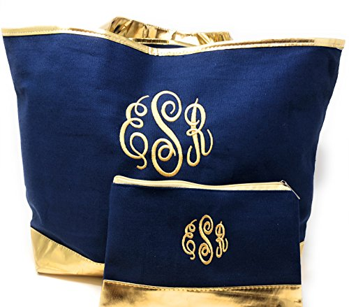 2 pc. Monogrammed Extra Large Fashion Navy Blue Cabana Tote and Accessory Bag