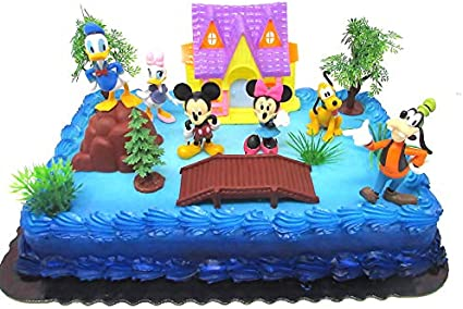 Marvelous 15 Piece Mickey Mouse Clubhouse Birthday Cake Topper Set Featuring Personalised Birthday Cards Bromeletsinfo