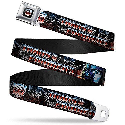(Buckle-Down Seatbelt Belt - TRANSFORMERS/Autobot Logo/Optimus Prime Poses Black/Blue-Red Fade - 1.5