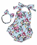 #7: Yiner Baby Girls Floral Print Ruffles Romper Summer Clothes With Bowknot Headband