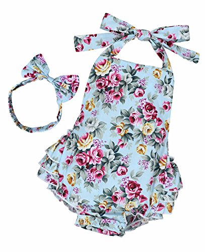 Yiner Baby Girls Floral Print Ruffles Romper Summer Clothes With Bowknot Headband 0-6 Months