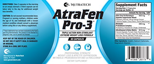 Nutratech Atrafen Pro 3 in 1 Stimulant Free Fat Burner Diet Pill Blend Provides Weight Loss and Appetite Suppression, A Daily Dose of Probiotics for Digestive Health, and an Body Detox and Cleanse.